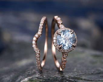 Blue Aquamarine engagement ring set-Solid 14k rose gold-handmade Arched Diamond Wedding ring-2PC Stacking ring-7mm Round Marth Birthstone