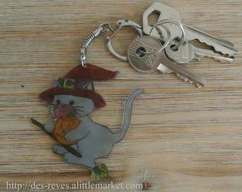 Keychain - Halloween - witch cat