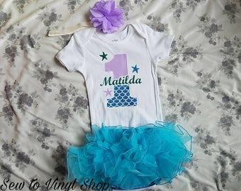 One Little Mermaid Baby Girl First Birthday Onesie