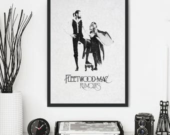 Fleetwood Mac - music print, poster, picture. Artwork inspired by the original  'Rumours' album cover. Iconic vintage style wall art