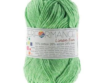 10 x 50 g knitting wool green linen fun #155
