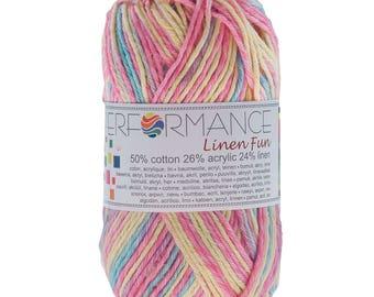 10 x 50 g knitting wool linen fun #9010 yellow blue pink