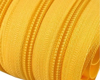 6m of endless zipper 5mm with 15 zippers and ends 111 Daffodil yellow