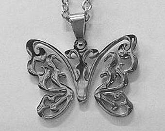 "Butterfly in Stainless Steel with 24"" Stainless Steel Chain"