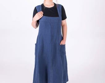 Japanese style apron. Washed linen apron. Natural linen apron. Blue Color Apron.