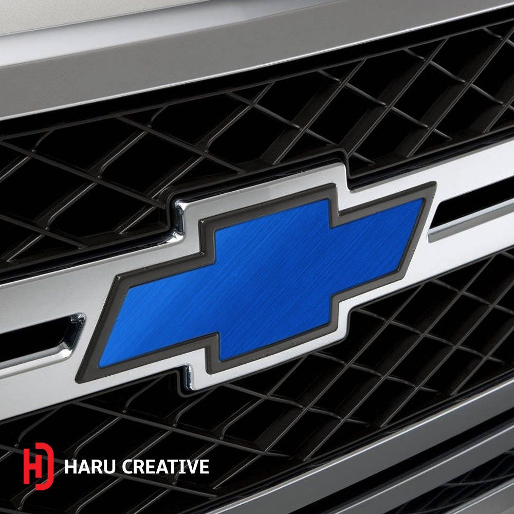 All Chevy blue chevy bowtie emblem : Chevy Bowtie Emblem Overlay Kit - Satin Chrome Blue Brushed ...