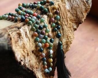 Mala of Indian Jasper 108 beads yoga