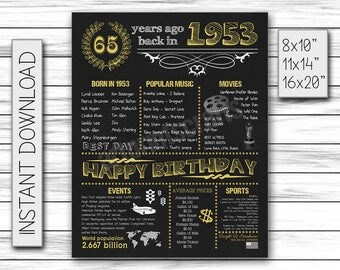 65th Birthday Gift, 1953 Birthday, Birthday Decorations, 65th Party, Milestone Birthday, Chalkboard Birthday, Party Decor, DIGITAL FILE, jpg