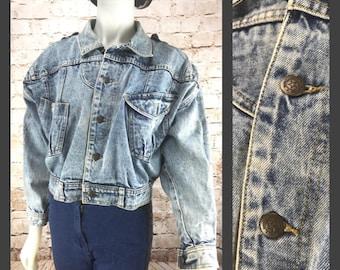 80's Cropped Jean Jacket - Cropped denim Jacket - Vintage Acid washed Jacket - 80s Jean Jacket - Womens Denim Jacket - Womens Clothing