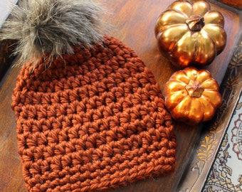 Pumpkin Spice Women's Crocheted Winter Hat with Faux Fur Pom-pom