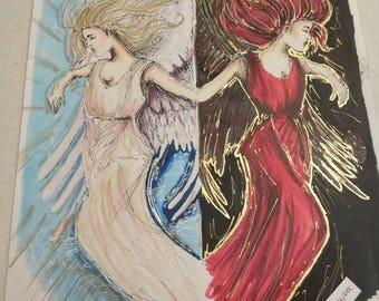 Angel and devil - inktober original