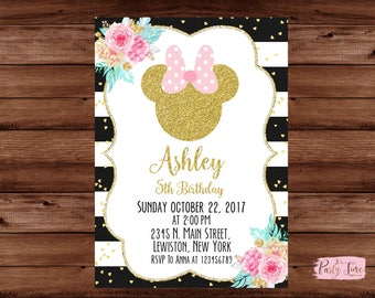 Minnie Mouse Invitation - Pink and Gold Minnie Mouse Invitation - Minnie Mouse Birthday Party Invitation - Minnie Mouse - Minnie Mouse Party