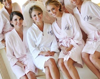 7-Bridesmaid Solid Color Waffle Robes-Available Personalization with Name or Monogram- Multiple Colors