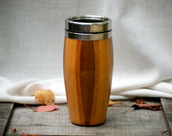 Handmade Walnut,Cherry and Mahogany Wood TravelMug