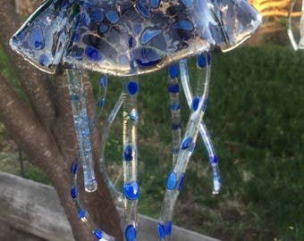JELLYFISH WINDCHIME, jelly fish, blue, pebble, sun catcher, suncatcher, spots, dots