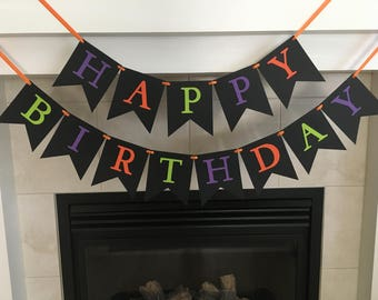 Halloween Birthday Banner, Halloween Party, Black Banner, Orange, Green, Purple, Happy Birthday Banner, Halloween Party Banner