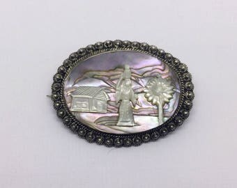 935 Sterling silver abalone shell mother Pearl brooch #204