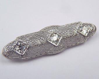 Art Deco 14k white gold 1.35 Ctw  diamond brooch #10638
