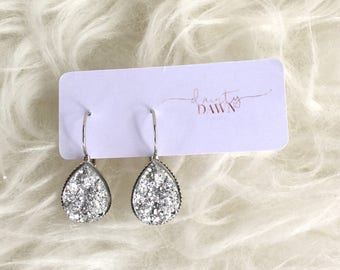 Silver Druzy Teardrop : Dangle Earring