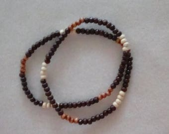 Men's 24 inch Stretch Wooden Beaded Necklace.
