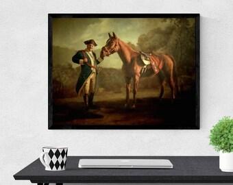 "18x24"" Sopranos Canvas, Print, or Frame - Tony with Pie O My - Print of the painting from The Sopranos - Tony Soprano as Washington w/ horse"