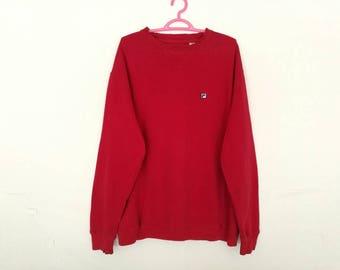 Rare!! Fila Small Logo Spellout Embroidery Pullover Jumper Sweatshirt