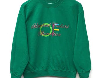 Vintage United Colors Of Benetton Sweatshirt Big Logo Spell out Jumper Pullover L Size