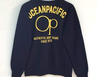 Ocean Pacific Sweatshirt Spell out Big Logo L Size Surfboards Hawaii