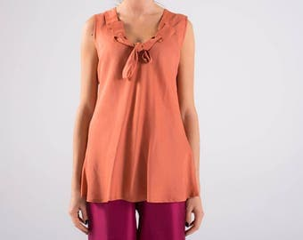 Wide shoulder top, tank tops, silk, Orange-peach