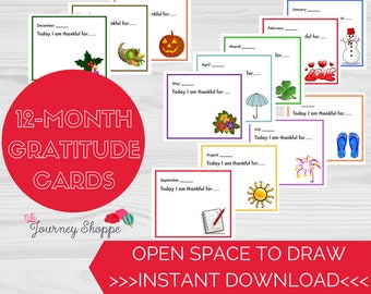 Gratitude Note Cards for Kids & Families ~ Designs for Each Month of the Year ~ Instant Download Printable