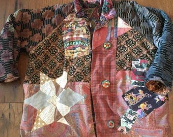 Thick Patchwork Abstract Patches Geometric Crazy Busy Handmade Button Thick Warm Hobo Grunge 90's Jacket Coat