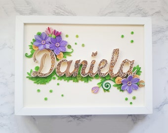 Custom quilled name for Diana, Quilling paper monogram, Nursery decor, Original quilling letter, Unique quilling monogram, Personalized gift