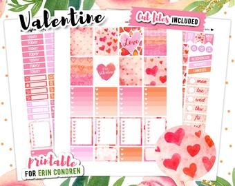 Valentine Planner Stickers, Erin Condren Stickers, Love Planner Stickers, February Planner Sticker Kit, Printable Stickers