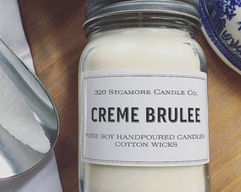 16 oz. Creme Brulee Hand Poured Pure Soy Candle with Cotton Wick