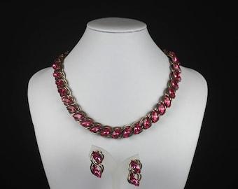 Vintage Jewelry Set-pink-rhinestones-Parure-elegant-1950s-statement-designer-mid century-Mad Men-Gift