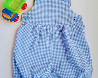Blue Checked Rompers