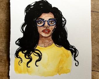 Yellow Shirt Blue Glasses