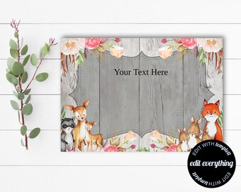 Blank Card - Blank Template - Printable blank card - Woodland Animals - Blank Cards - Instant Download - DIY Blank Card - Shabby Chic Card
