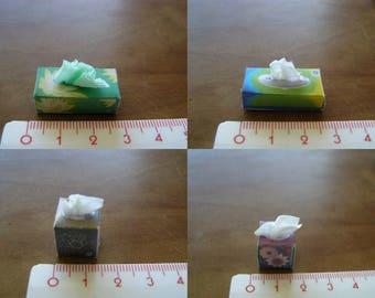 choice 1: 12 miniature handkerchiefs box, miniature, Dollhouse