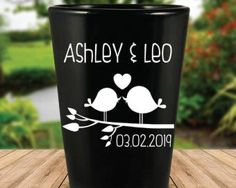 Custom Love Birds Black Wedding Favor Shot Glasses