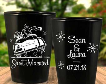"Custom Retro ""Just Married"" 2-Sided Black Wedding Favor Shot Glasses"