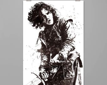 Jon Snow Game of Thrones Art print  Jon Snow Poster Modern art print Splattered watercolor style Contemporary art print #0091