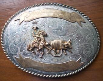 Cowboy Ropeing Steer