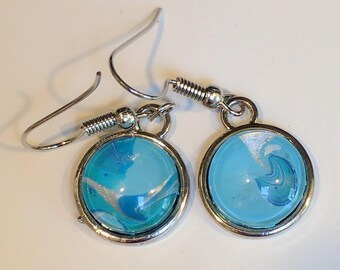 Silver Dangle Earrings Teal and Blue