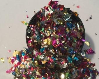NEW! Glitter Solvent Resistant Foil Mylar Holographic Mixed Colors Franken Nail Glitter Foil Confetti Mix