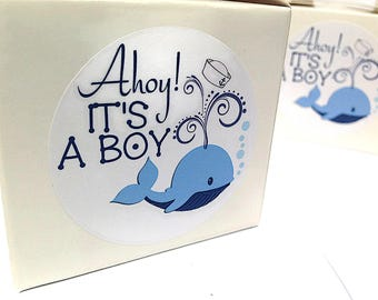 Ahoy it's a boy stickers, Nautical baby shower stickers, Ahoy it's a boy, Boy baby shower, nautical baby shower stickers 138
