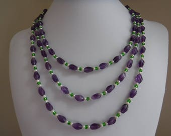 Amethyst and White Pearl Necklace