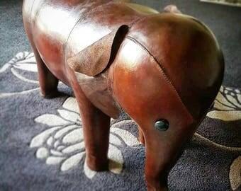 Large Handmade Leather Elephant Footstool / Unusual Interior Design piece