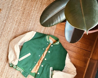Vintage - Boys size - Letterjacket - Kelly Green and Cream - Wool and Vinyl
