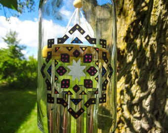 Wine Bottle Wind Chimes, Mandala, Hand Painted, Hand Made Wind Chimes, Garden Decor, Upcycled, Large Glass Wind Chime, Feng Shui, Wine Decor